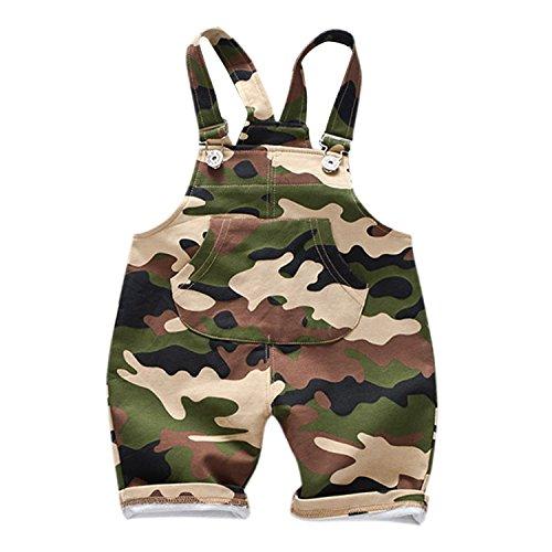 De feuilles Baby Shorts Hose mit Taschen Latzhose Kurz Hose Baby Mädchen Latzhose Overall Jumpsuit Camouflage Latzhose 80-100 cm -