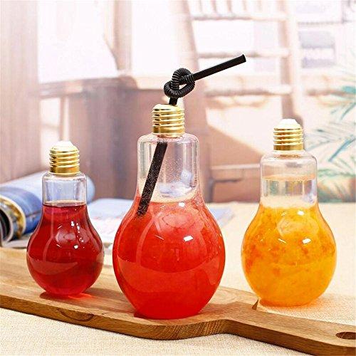 Glas Getränkeflaschen (Hete-supply 1/5 STÜCKE Glühbirne Flasche, Glühbirne Vase Klarer Kunststoff Glühbirne Flasche Bars Glühlampe Glas Saft Wasser Getränkeflasche)