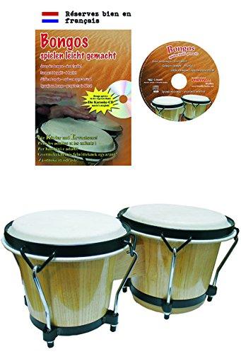 Clifton Bongo-Set, 6 Zoll/7 Zoll Birkenholz mit Lernbuch und Karaoke CD, stimmbar mit Stimmschlüssel