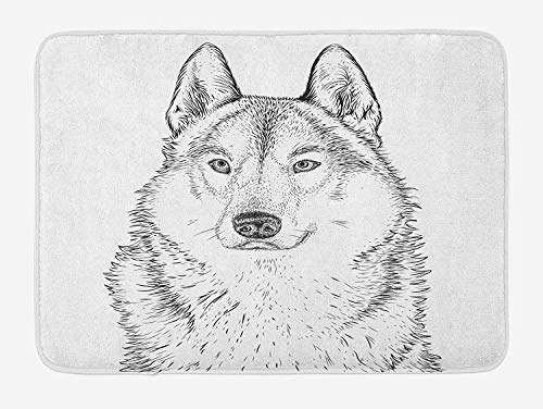 Icndpshorts Animal Bath Mat, Wildlife Woods Winter Animal Wolf Dog Sketchy Hand Drawn Image Artwork Print, Plush Bathroom Decor Mat with Non Slip Backing, 23.6 x 15.7 Inches, Black and White Combo Winter Liner
