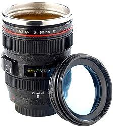 Somikon Objektiv Becher: Kameraobjektiv-Becher, doppelwandig, innen Edelstahl, 300 ml (Kamerabecher)