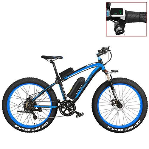 LANKELEISI XF4000 Bicicleta de montaña eléctrica 26 Pulgadas, neumático de Grasa 4.0, Bicicleta Nieve, batería de Litio 48 V, Bicicleta...