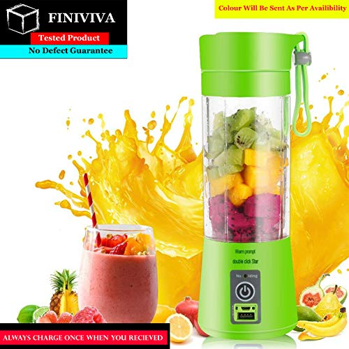 FINIVIVA Portable USB Juicer Bottle Blender | Rechargeable USB Juicer Blender Bottle with USB Charging Cable | Juicer Grinder Mixer Blender Juice Cup (380 ml) (Multicolour)