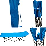 'Amaze' Folding Portable Light weight Outdoor Camping Travelling Trekking Bed Cot with Carry Bag - Blue