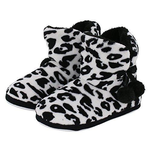 Kuschelige Damen Hüttenschuhe Hausstiefel Plüsch mit Muster und Bommel - Farbe: Leopard - Größe: 39 - von Brandsseller