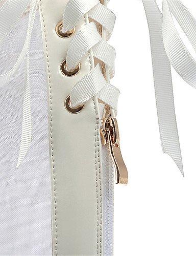 UWSZZ IL Sandali eleganti comfort Scarpe Donna-Sandali-Matrimonio / Ufficio e lavoro / Formale / Casual / Serata e festa-Tacchi-Quadrato-Materiali personalizzati / Pizzo- White