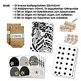 Papierdrachen DIY Adventskalender Set zum Befüllen - Weihnachtseulen Schwarz-weiß mit zusätzlicher Dekoration - Eulen Weihnachten - zum Basteln - zum selber Füllen - für Kinder - 6