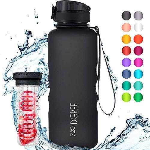 """720°DGREE Trinkflasche \""""uberBottle\"""" - 1,5 Liter, 1500ml, Schwarz - Neuartige Tritan Wasser-Flasche - Water Bottle BPA Frei - Ideale Sportflasche für Kinder, Fitness, Fahrrad, Sport, Fussball"""