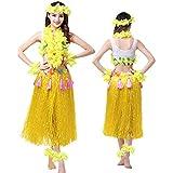 ZooBoo Hula Tanz Kleid Kostüm - Hawaii Polynesisch Tanzkleid Grasrock Zubehör Sexy Outfit Kleidung Set Quasten Blumen Party Cosplay Maskerade Strandurlaub für Damen Mädchen - Kunststoff 8 In 1 (Gelb)