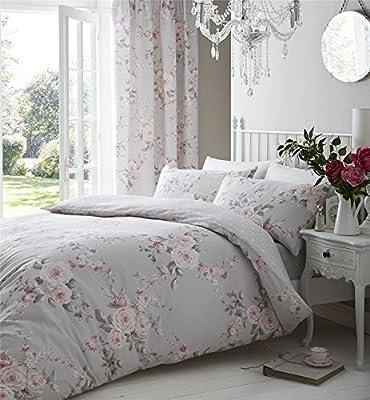 Grey Pink Rose Floral Cotton Blend Double Reversible 2 Piece Bedding Set
