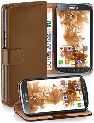 moex® Booklet mit Flip Funktion [360 Grad Voll-Schutz] für Samsung Galaxy S4 Active | Geldfach und Kartenfach + Stand-Funktion und Magnet-Verschluss, Braun