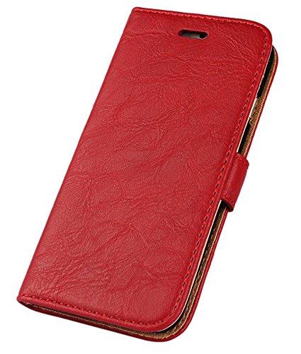 iPhone 6 Plus hülle, iPhone 6s Plus Holster hülle Bookstyle Handyhülle Premium PU Leder Tasche Flip Case Brieftasche Etui Handy Schutz Hülle für Apple iPhone 6 Plus/6 S Plus - Rot