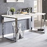 FineBuy Design Schreibtisch Charly 140x70x76 cm Weiß Hochglanz Computertisch | Bürotisch 140 cm Breit | PC-Tisch mit Metallbeinen | Home Office Konsole Modern