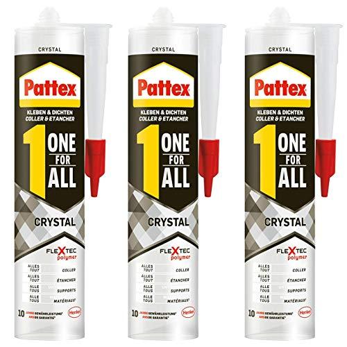 Gardopia Sparpaket: PATTEX PXFCR Montagekleber ONE for All Crystal, FlexTec® - basierter Montageklebstoff, Kleben & Dichten, 3 x 290 g