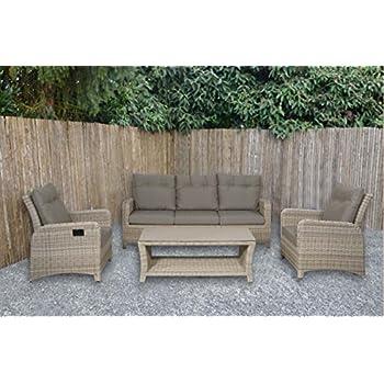 Lounge Gartenmöbel Set aus Polyrattan in beige. Gartenstühle und ...