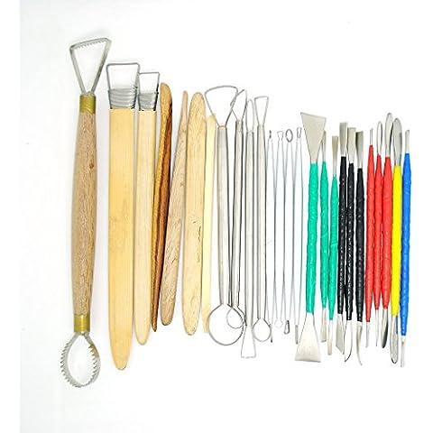 Conjunto de 26 Herramientas de Arcilla - Excelentes Herramientas para Cerámica de Arcilla, Escultura, Talla, Conformación, Modelado, Corte, Raspado y Otros Proyectos de Arte (26