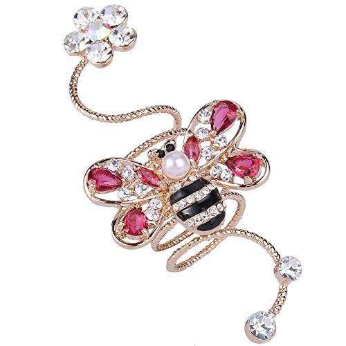 Flyonce Crystal Schöne Honig Biene Blume Simulierte Perle Knuckle Ring Rosa Gold-Ton-Größe Q