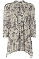 Roman Originals - Women's Mono Burnout Print Blouse - Causal Affordable Clothing - ivory Cream Sizes 10 - 20
