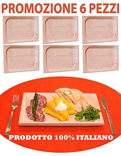Set servizio da 6 pezzi piatti di portata vassoio tagliere piatto scifetta per polenta salumi alimenti in legno di faggio naturale