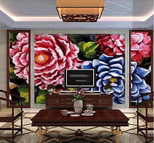 Hwhz Benutzerdefinierte Tapete Floral Relief Wand 3D Hintergrund Wand Einfache Europäische Dekorative Malerei Wandbild-400X280Cm Floral Relief