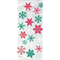 20 Red & Green Snowflake Cellophane Sweet Display Bags