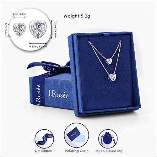 "J.Rosée 925 Sterling Silver 3A Cubic Zirconia ""Double Layer Heart"" Pendant Necklace for girls/women"