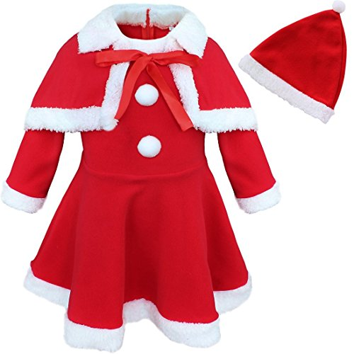 FEESHOW Baby Girls Princess Christmas Santa Claus Party Costume Dress Up with Shawl Hat Outfits Red 2-3 Years