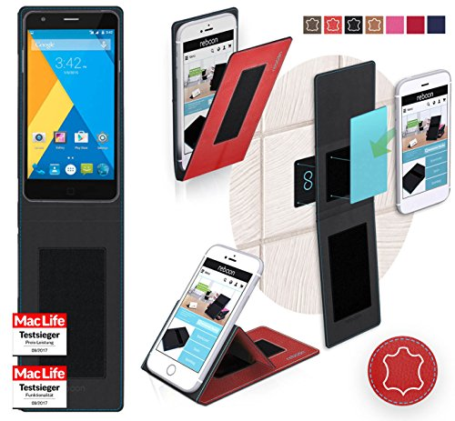 reboon Hülle für Elephone P7000 Tasche Cover Case Bumper | Rot Leder | Testsieger