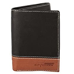SPAIROW Mens Genuine Leather TRY FOLD Wallet (W-215 TRY) BLACK