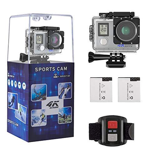 Camera d'action Pro 4K/1080P WiFi Etanche 30M, 2 Ecrans Ultra HD 170°Caméra Sport Accessoires Tous Inclus pour Cyclisme Natation Plongée Ski Parachutisme Quadricoptère (Argent) Haut du Formulaire