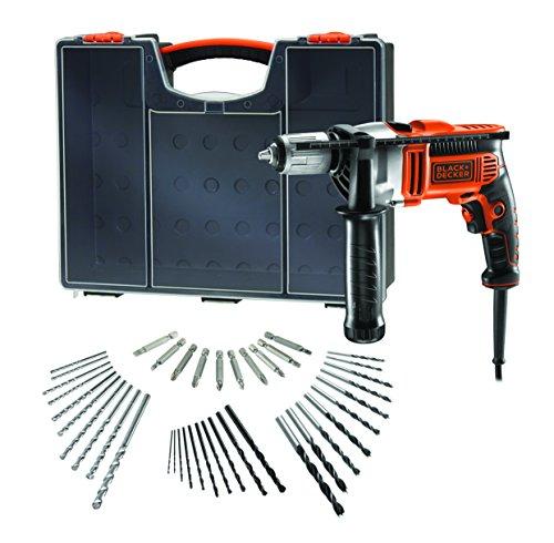 Black + Decker Schlagbohrmaschine KR806OA-QS, wendbar, 850 W, mit Extra-Zubehör, orange/schwarz