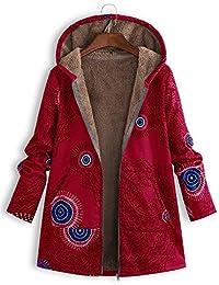 Huateng Chaqueta Mujer Abrigo Imprimir Faux Fleece Warm Up Bolsillo Cremallera Capucha Cardigan