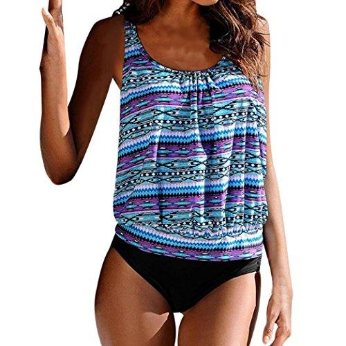 Weiblicher Badeanzug,Hmeng Frauen Plus Size Printed Tankini Split Bikini Badeanzug Badeanzug Badeanzug (L, Blau)