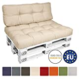 Beautissu Cuscino per spalliera di divani per bancali o pallet ECO Style - 120x40x10-20cm schienale per divano - beige