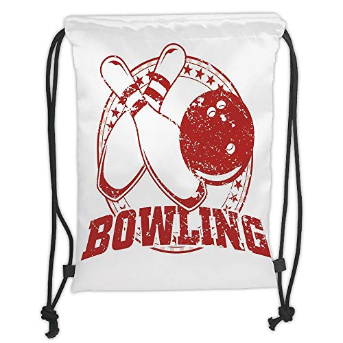 Drawstring Backpacks Bags,Bowling Party Decorations,Grunge Circle of Stars Vintage Distressed Emblem Design Typography,Red White Soft Satin,5 Liter Capacity,Adjustable String Closu - Distressed Hobo