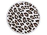 kxrzu Funny Leopard Muster Rund Strandtuch, bedruckt mit Quasten Super Wasser absorbierenden Casual Style-Handtuch, weiches Mikrofaser Decke (150x 150cm