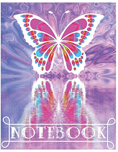 rfly Composition Notebook/Journal for Adult/Children Animals Lovers to Writing (8.5x11 Inch.) Wide Ruled Lined Paper 120 Blank Pages (WHITE&PINK&PURPLE&BLUE Pattern) ()