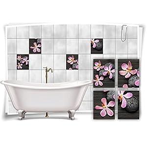 Medianlux Fliesenaufkleber Fliesenbild Blumen Orchidee SPA Wellness Aufkleber Deko Bad Fliesen Badezimmer, 15x20cm