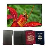Grand Phone Cases Cubierta del pasaporte de impresión de rayas // M00140856 Emerocallide Fiore Del Giglio Rosso // Universal passport leather cover