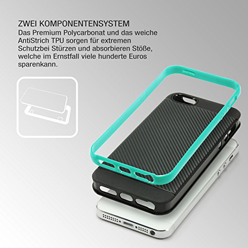 Urcover® Apple iPhone SE / 5s / 5 Handy-Hülle [ Carbon Optik ] Hybrid 2 teiliges Case MINT GRÜN TPU PC Cover Case Etui Schutz-Hülle Handyschutz Mint Grün