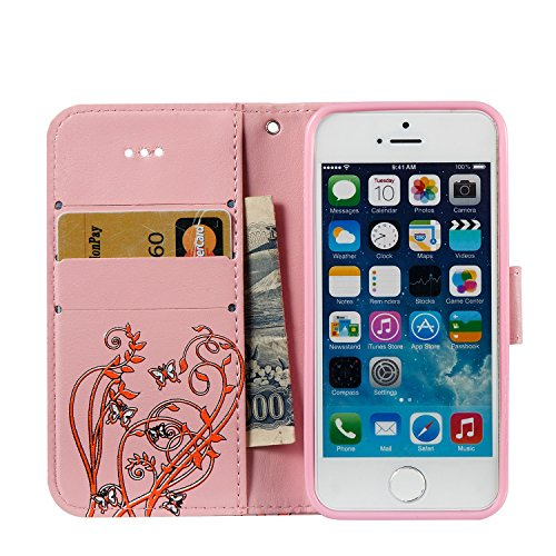 iPhone 6 6S Leder Hülle,iPhone 6 6S Wallet Case,iPhone 6 6S Handytasche Hülle,Leder Handy Tasche Wallet Case Flip Cover Etui für iPhone 6 6S,EMAXELERS iPhone 6 6S Silikon Hülle,iPhone 6 6S Hülle Retro Narcissus Butterfly 3
