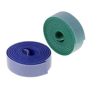 Baoblaze 2er Set Klettband 1M Klett Kabelbinder Kabelband Rolle Klettverschluss Band Schwarz - Mehrfarbe 15mm