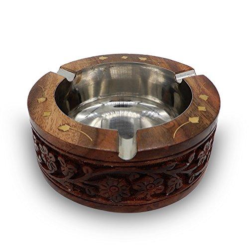 PMK Cenicero de madera redondo tallado con cuenco, boquilla, cenicero de madera, cenicero de cigarro de madera, cenicero para hombres y mujeres
