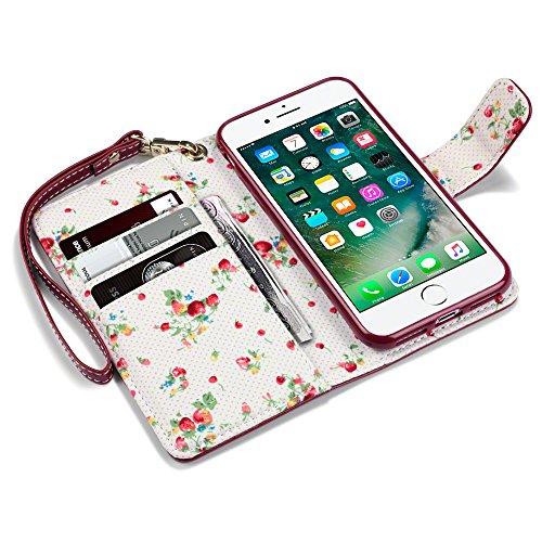 iPhone 8 / iPhone 7 Cover, Terrapin Handy Leder Brieftasche Case Hülle mit Kartenfächer für iPhone 8 Hülle Rot mit Blumen Interior Rot mit Blumen Interior