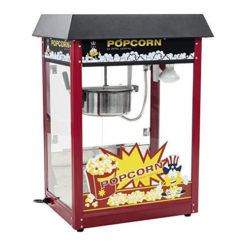 Royal Catering Retro Popcornmaschine RCPS-14 Profi Popcorn Maschine 1495 W Popcorn Maker mit Arbeitszyklus 120 s Arbeitsleistung 5 kg/h Topfbeschichtung Teflon rotes Dach