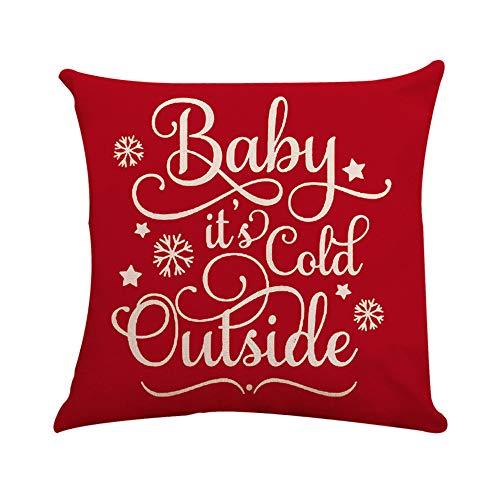 Riou Kissenbezuge Weihnachten Kissenhülle Dekokissen Fall Throw Pillow Covers Bettwäsche Für Autos Sofakissen Quadratische Kissen Toss Weihnachten Kissenbezug Versteckte Reißverschluss (Rot A, 45 x 45cm)