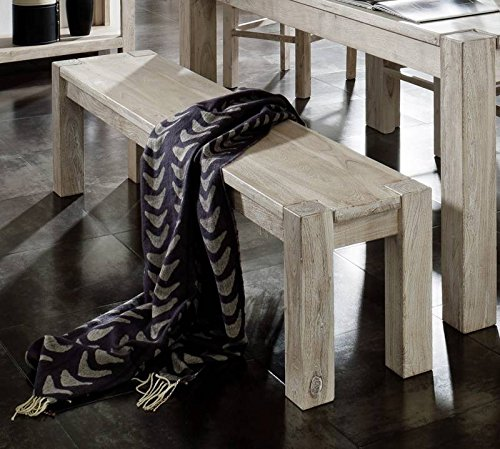 Meubles en bois massif d'acacia massif banc blanc 220 x 35#170 meuble nature