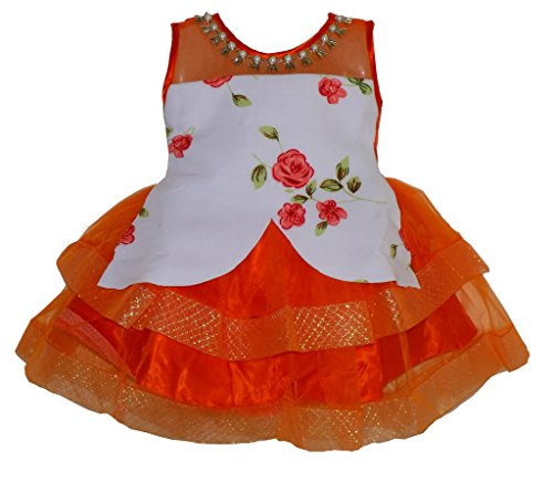 ALL ABOUT PINKS' Tutu Dress Frock for Girls in Scuba Fabric Birthday Dress (Orange, 1.5 to 2.5 Years)