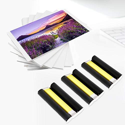 Kompatibel mit Canon Selphy KP-108IN 3x Farbtintenkassette und 108x Papierblätter CP Serie Fotodrucker 100 x 148 mm Postkartengröße CP780 CP790 CP810 CP810 CP820 CP900 CP910 CP1000 CP1200 CP1300