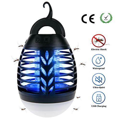 BACKTURE 2-in-1 Lanterna da Campeggio, IPX6 Impermeabile UV Zanzariera Elettrica, Lampada Antizanzare con 2200mAh Ricaricabile USB, 3 Luminosità di LED Luce per Interno Esterno Campeggio